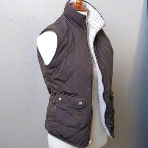 J.Crew Reversible Green/Gold/Cream Full Zip Vest